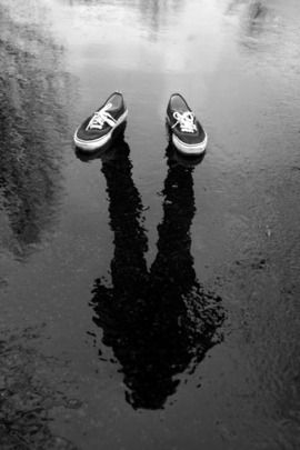 shoes in puddle